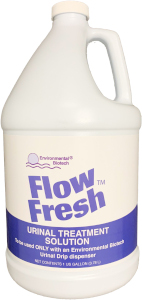 Flow Fresh™ liquid eliminates uric acid crystal buildup in urinals and drain lines, keeping your urinals functioning properly.
